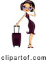 Vector of Stylish Woman Adjusting Her Shades and Standing by Her Rolling Suitcase by BNP Design Studio