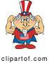 Vector of Super Uncle Sam in a Cape, Flexing His Muscles by Dennis Holmes Designs