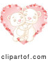 Vector of Sweet Polar Bear Couple Hugging over a Pink Heart by Pushkin