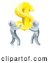 Vector of Team of 3d Silver Men Carrying a Giant Gold USD Dollar Symbol by AtStockIllustration