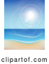 Vector of the Sun Shining over the Sea and a Beach by Vectorace