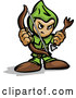 Vector of Tough Cartoon Archer Holding a Bow and Arrow by Chromaco