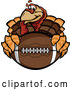 Vector of Turkey Bird Mascot Holding an American Football Thanksgiving Super Bowl by Chromaco