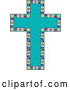 Vector of Turquoise Peace Dove Patterned Easter Cross Bordered with Stained Glass by Maria Bell