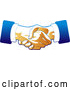 Vector of Two Hands of Business Men Engaged in a Deal Binding Handshake, in Blue and Tan Tones by Tonis Pan