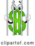 Vector of USD Dollar Currency Symbol Mascot Behind Jail Bars by BNP Design Studio