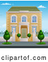 Vector of Victorian House with Topiary Plants by AtStockIllustration