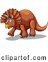 Vector of Walking Brown Triceratops Dinosaur by Graphics RF