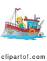 Vector of White Fisher Man on a Boat by Visekart