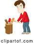 Vector of White Guy Smiling While Chopping Wood on a Stump by Rosie Piter
