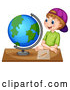 Vector of White School Boy Sitting at a Desk and Looking at a Globe by Graphics RF
