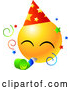 Vector of Yellow Emoticon Face Wearing a Party Hat and Blowing on a Noise Maker at a Party by Tonis Pan