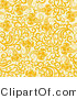 Vector of Yellow Flowers with Vines over Beige - Seamless Web Design Background by Elena