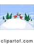 Vector of Young Cartoon Reindeer Kissing on Snow Hill in the Woods by