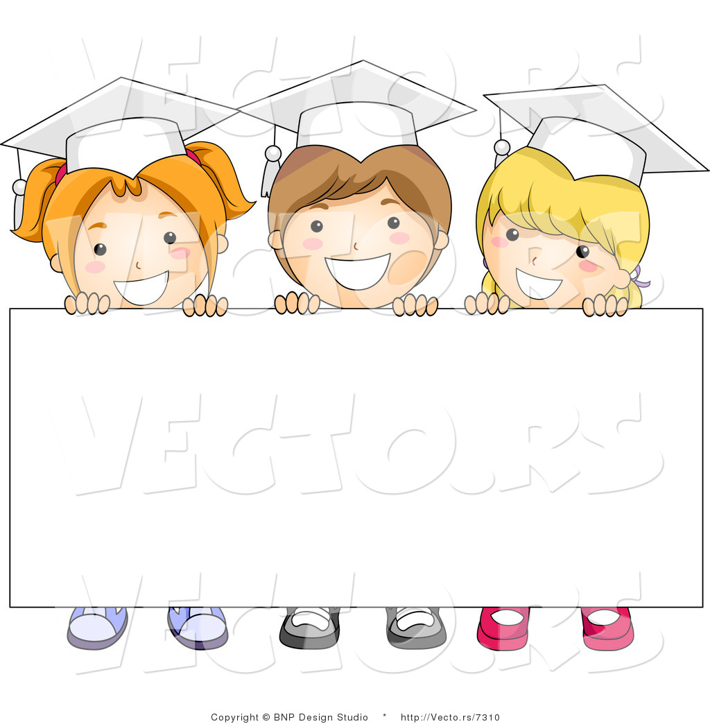 cartoon vector of 3 graduating kids standing behind blank sign