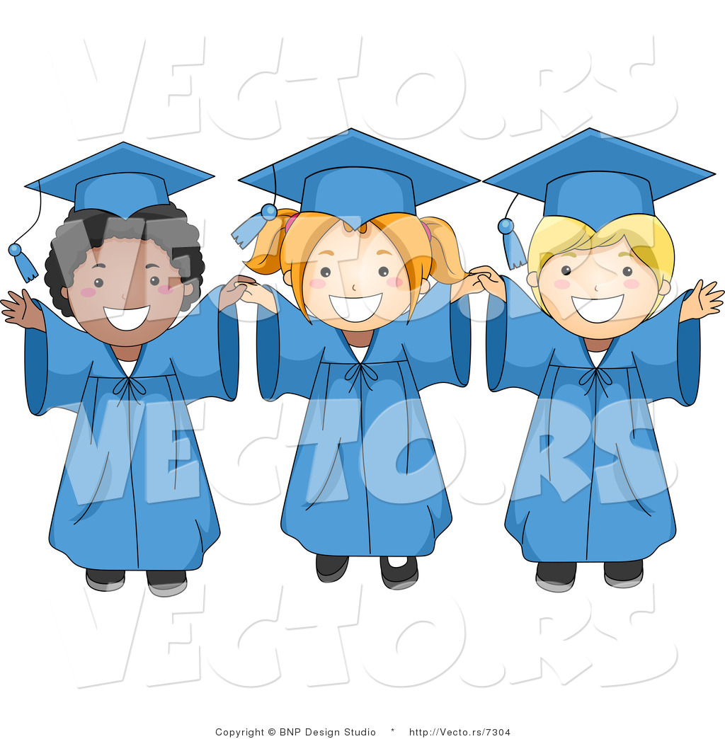 Cartoon Vector of 3 Happy Graduation Kids Smiling Big with