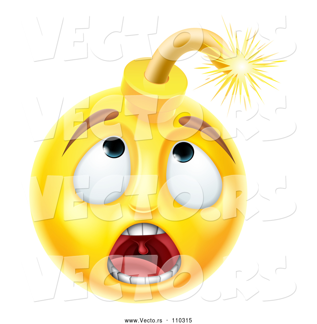 Cartoon Vector of 3d Scared Yellow Male Smiley Emoji