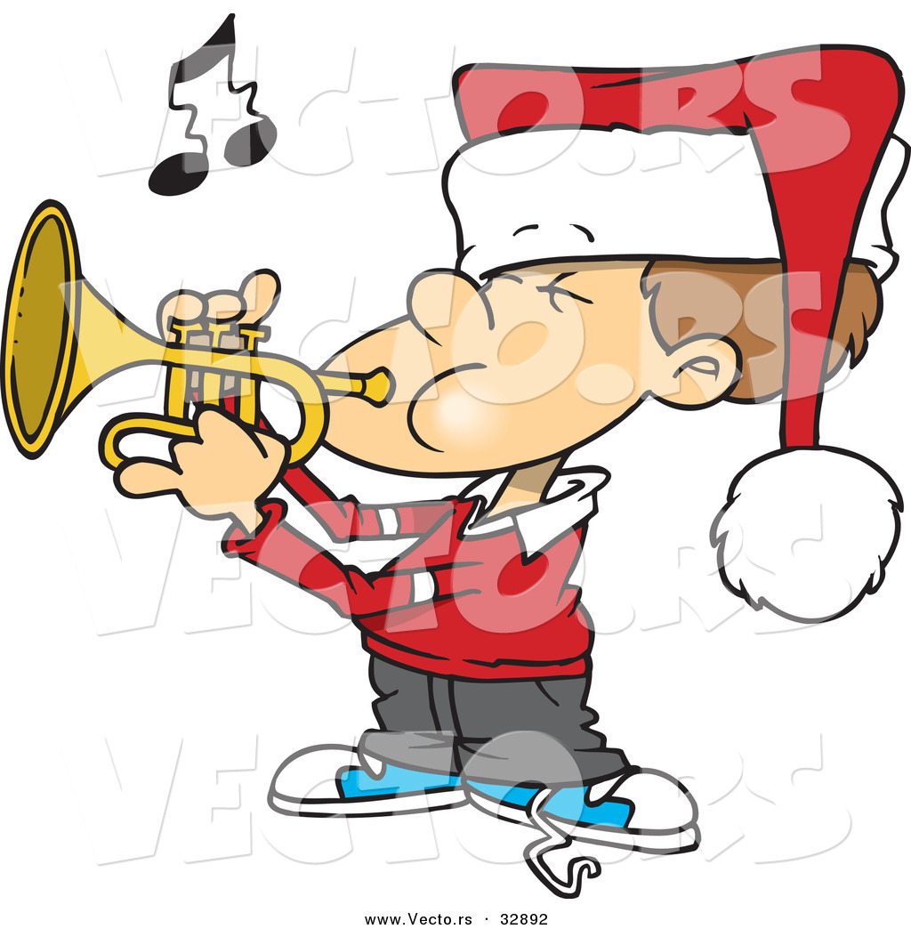 Cartoon Vector of a Boy Playing Christmas Tunes with Trumpet by ...