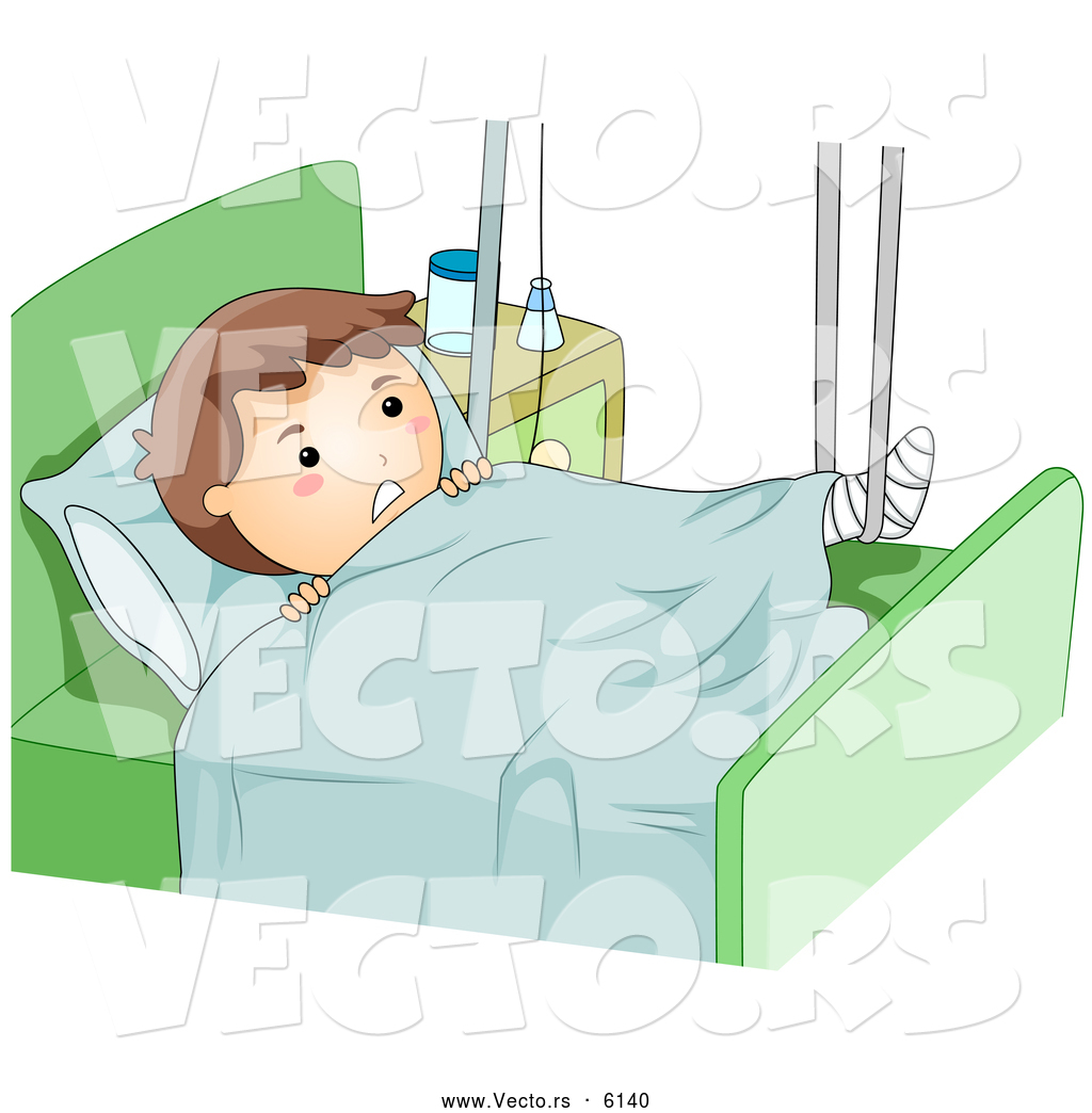 Cartoon Vector Of A Boy With A Broken Leg Propped Up In A Hospital