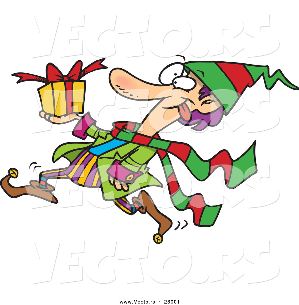 cartoon vector of a busy christmas elf running with a present by