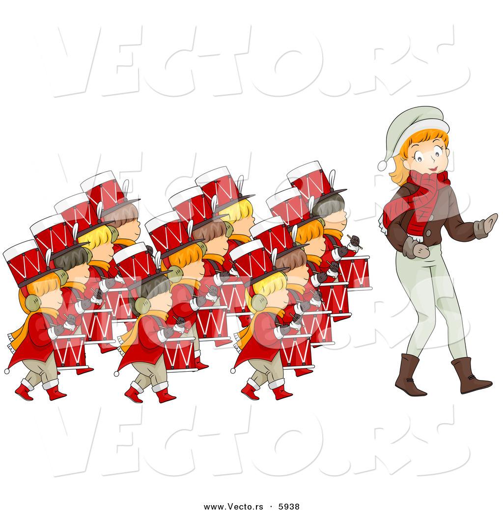 Cartoon Vector of a Girl Leading Twelve Drummers Drumming on the ...