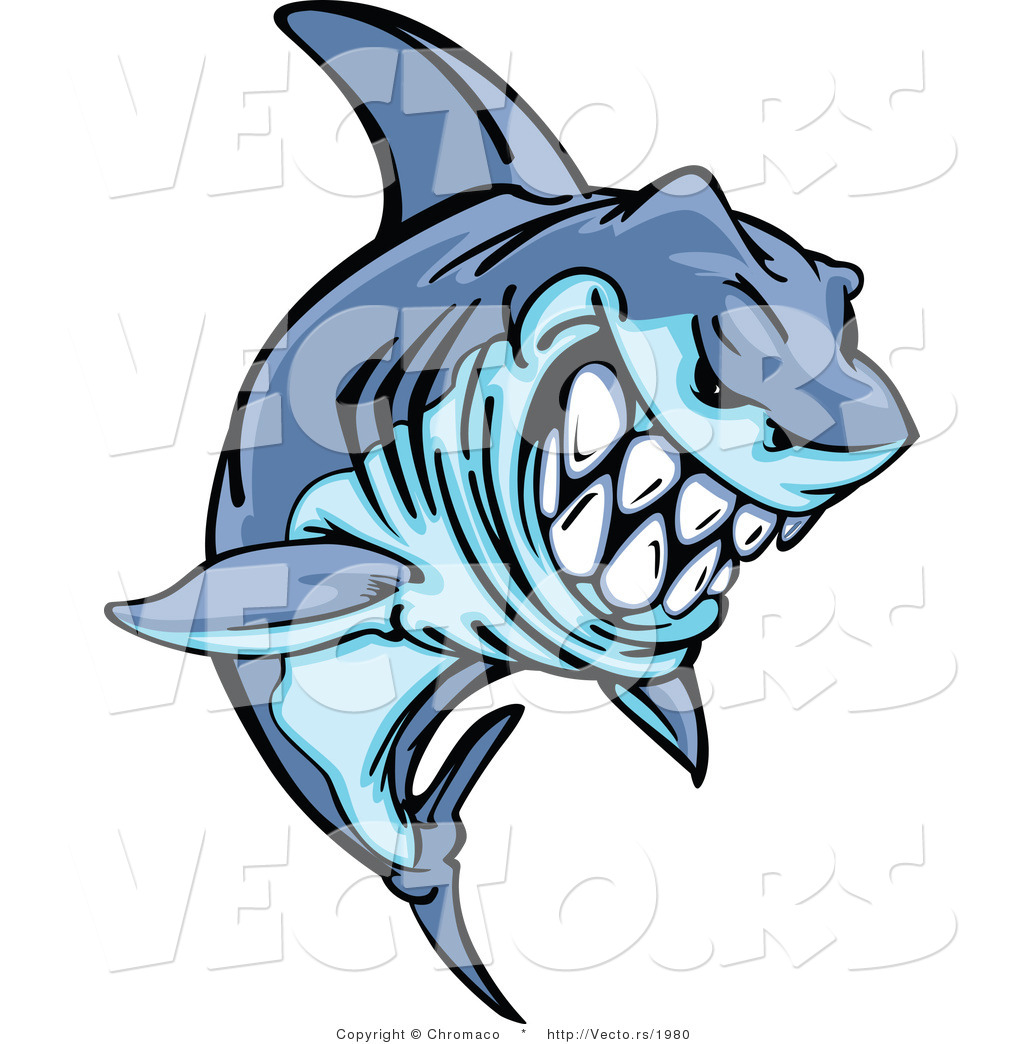 cartoon vector of a grinning cartoon shark mascot leaping out of