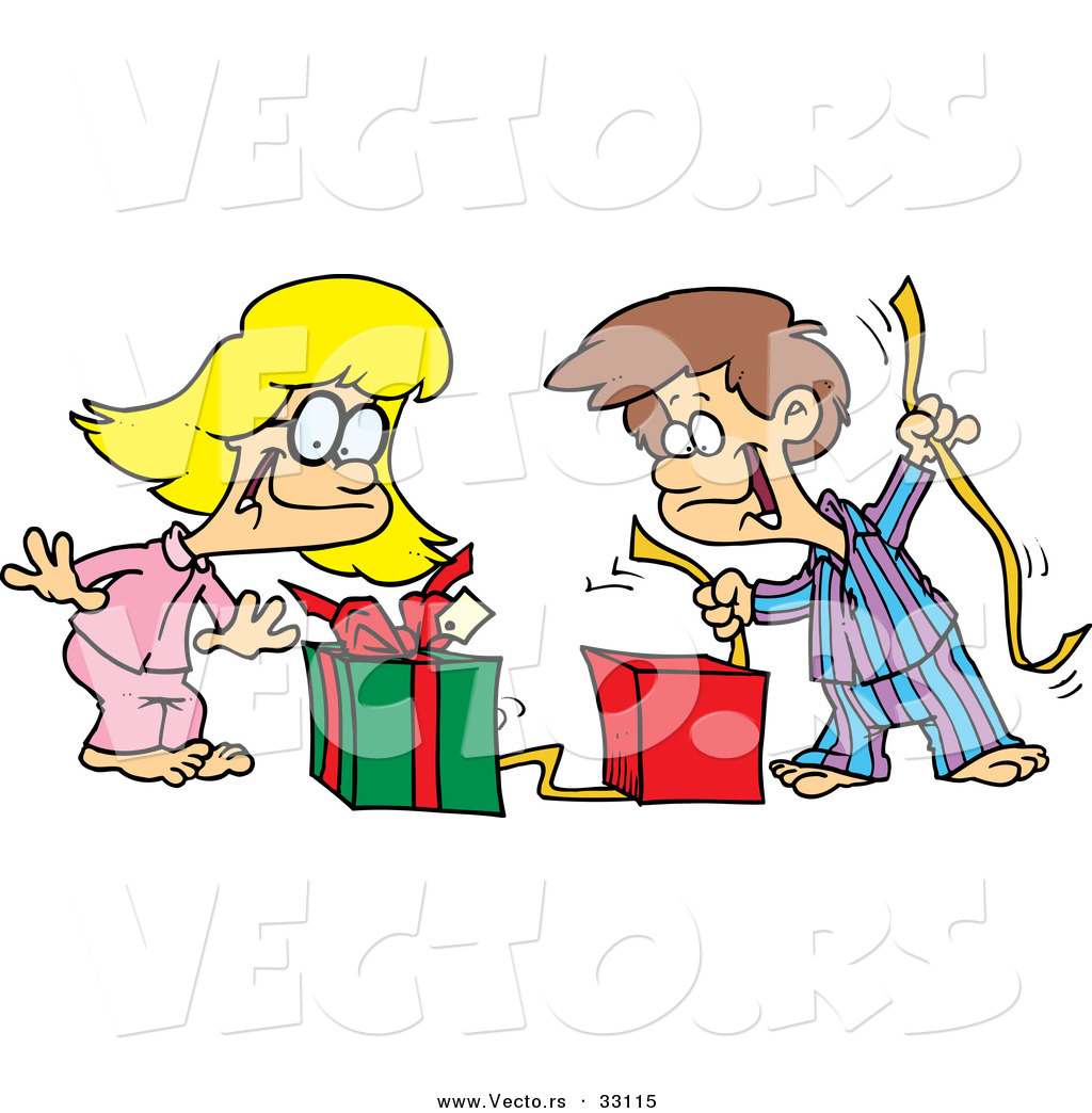 Cartoon Vector of a Happy Boy and Girl Opening Christmas ...