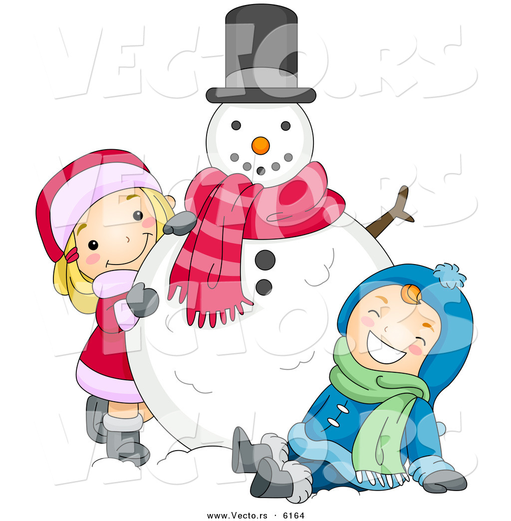 Cartoon Vector of a Happy Boy and Girl Playing with Christmas Snowman ...