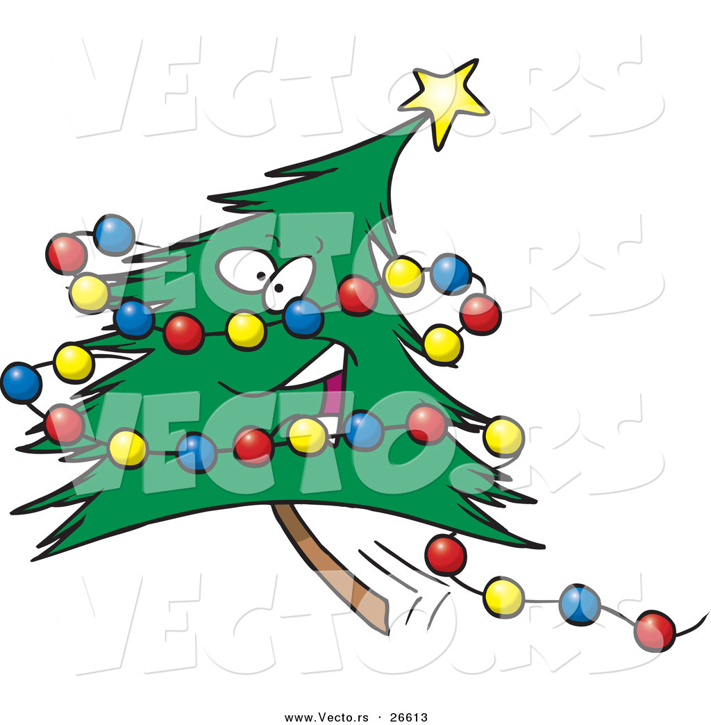 Cartoon Vector of a Happy Christmas Tree Character with Colorful ...