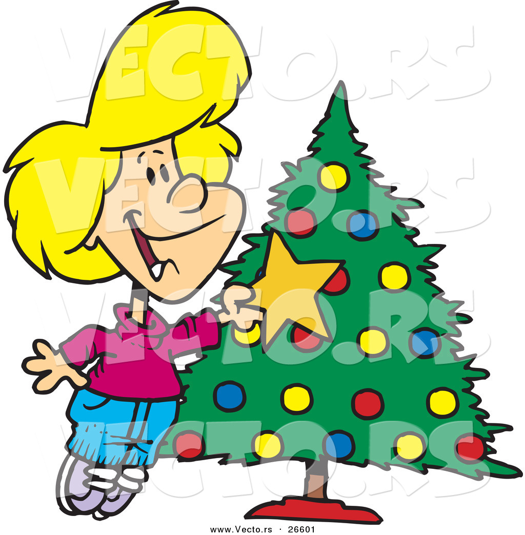 Cartoon Vector of a Happy Girl Decorating a Christmas Tree with a ...