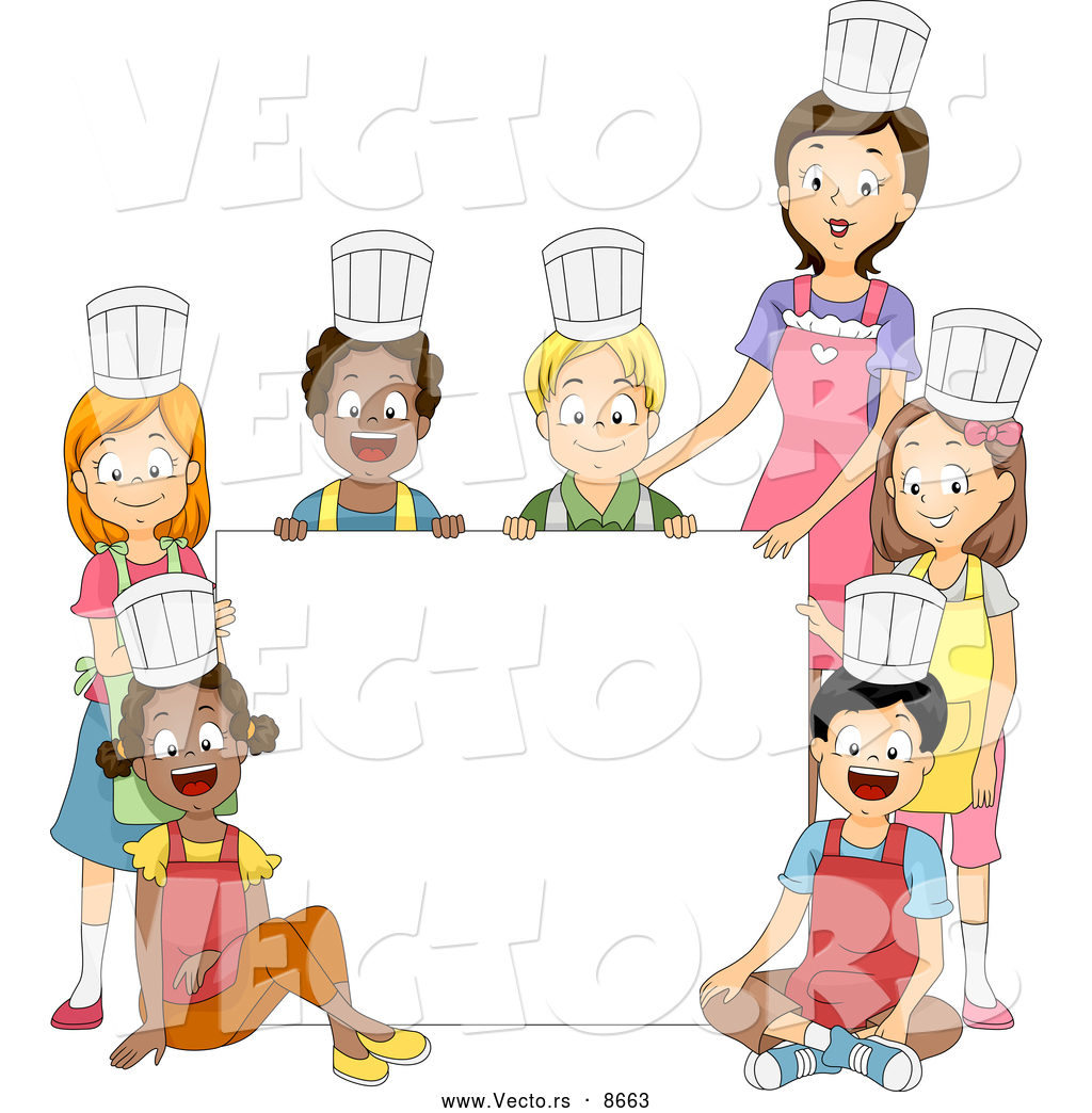Cartoon Vector of a Home Economics Cooking Class and Teacher ...