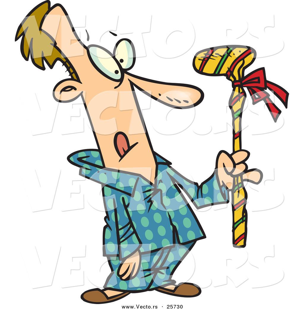 Cartoon Vector of a Man Holding Wrapped Golf Club Christmas Present on cartoon golf club clip art, cartoon golf club swing, the step to draw a cartoon golf club, cartoon man golf club,
