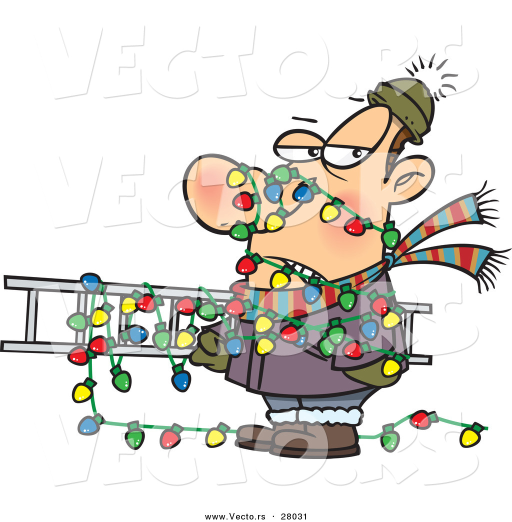Cartoon Vector Of A Man Tangled In Outdoor Christmas