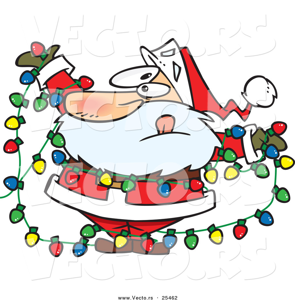 Christmas Lights Cartoon.Cartoon Vector Of A Santa Tangled In Colorful Christmas