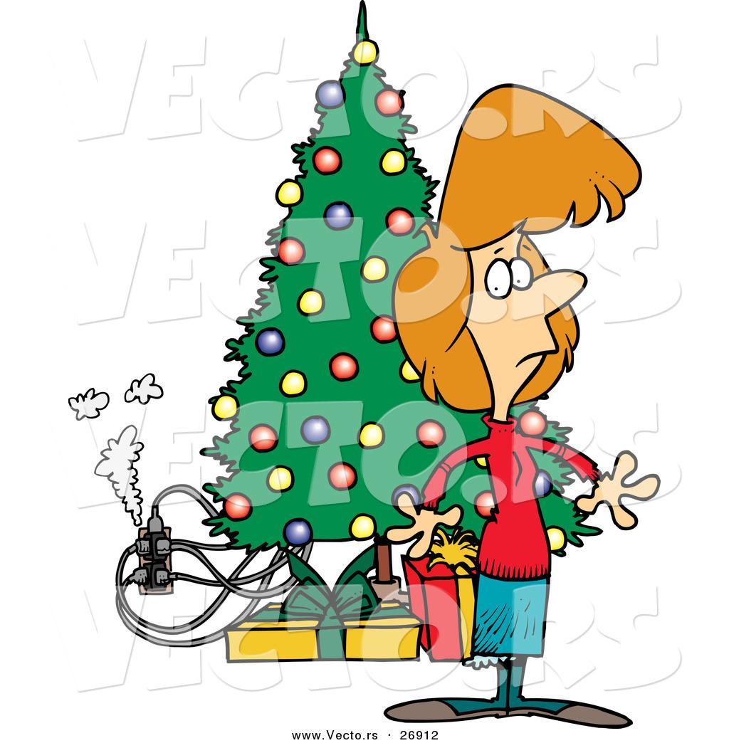 Cartoon Vector of a Smoking Electric Hazard Beside a Christmas Tree ...