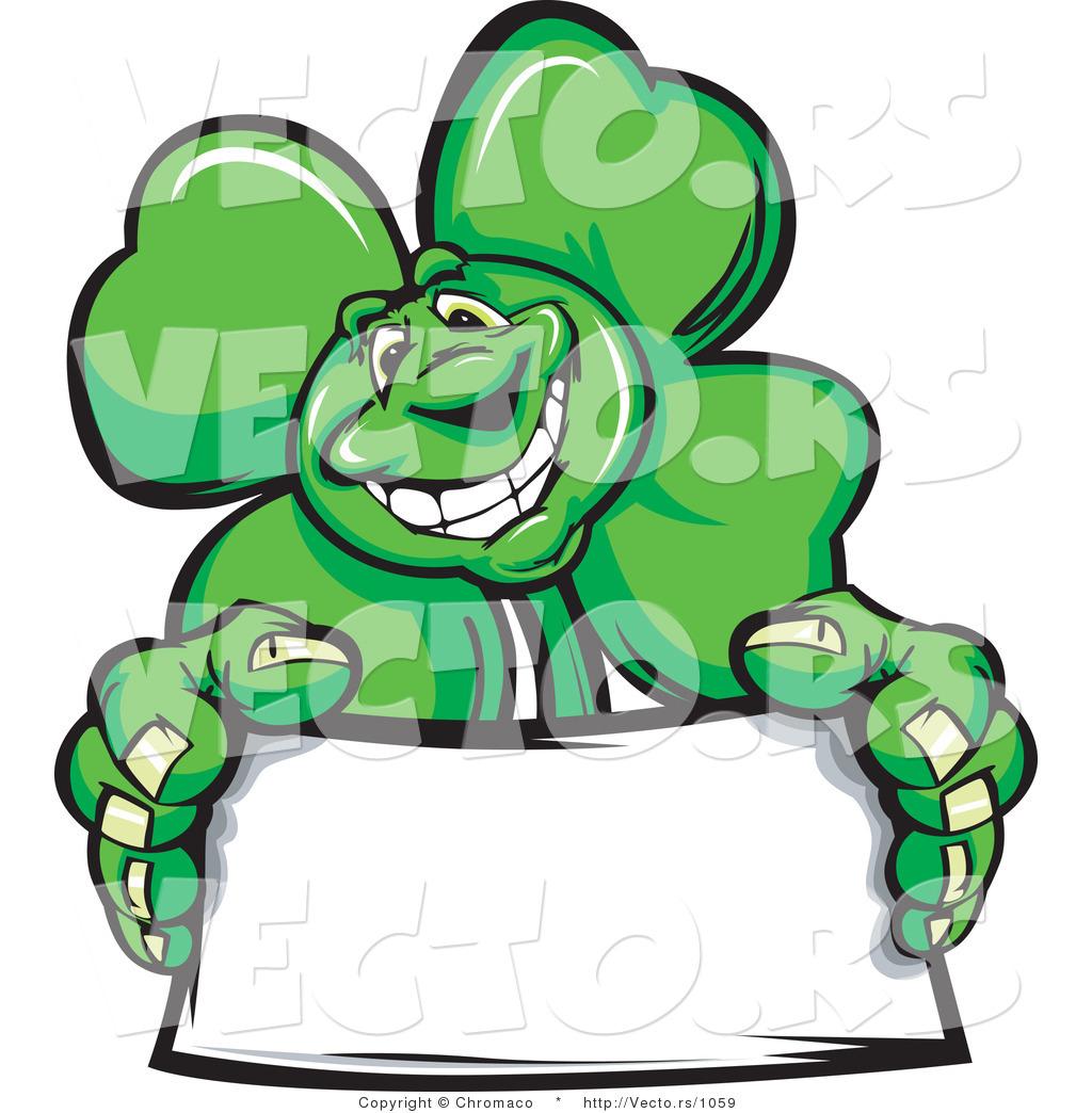 cartoon vector of a st patrick u0027s day shamrock clover mascot