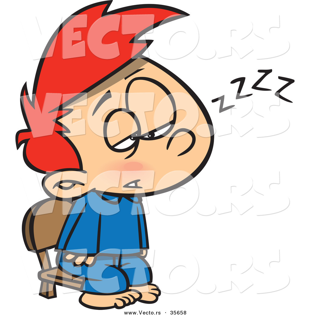 cartoon vector of a tired boy trying to stay awake for santa by cartoon vector of a tired boy trying to stay awake for santa