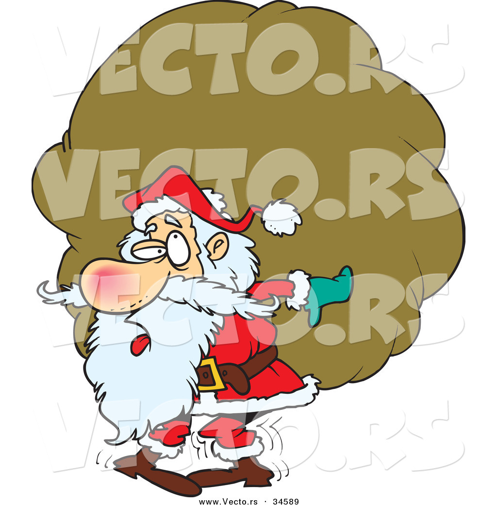 0565fcc7bb801 Cartoon Vector of a Tired Santa Carrying a Big