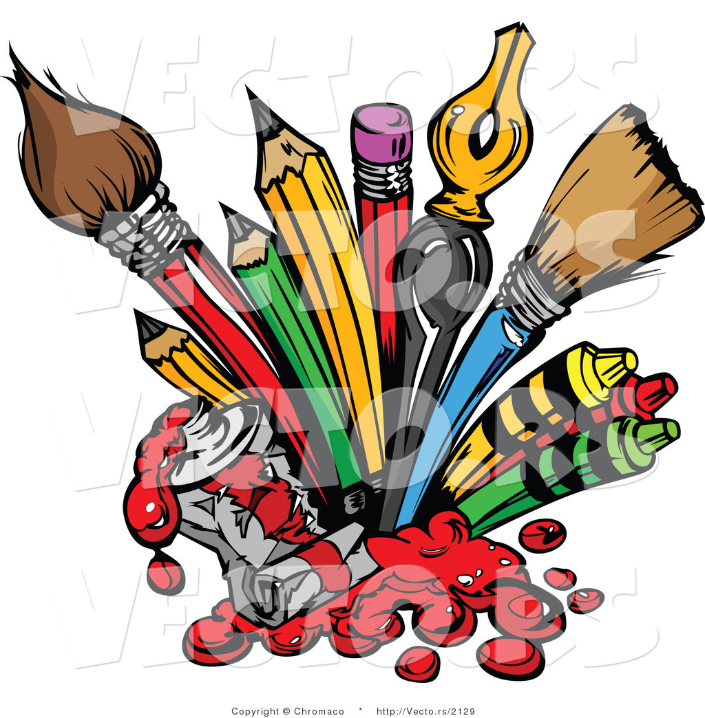 Cartoon Vector of Art Supplies: Pencils, Ink Pens, Paint Brushes ...
