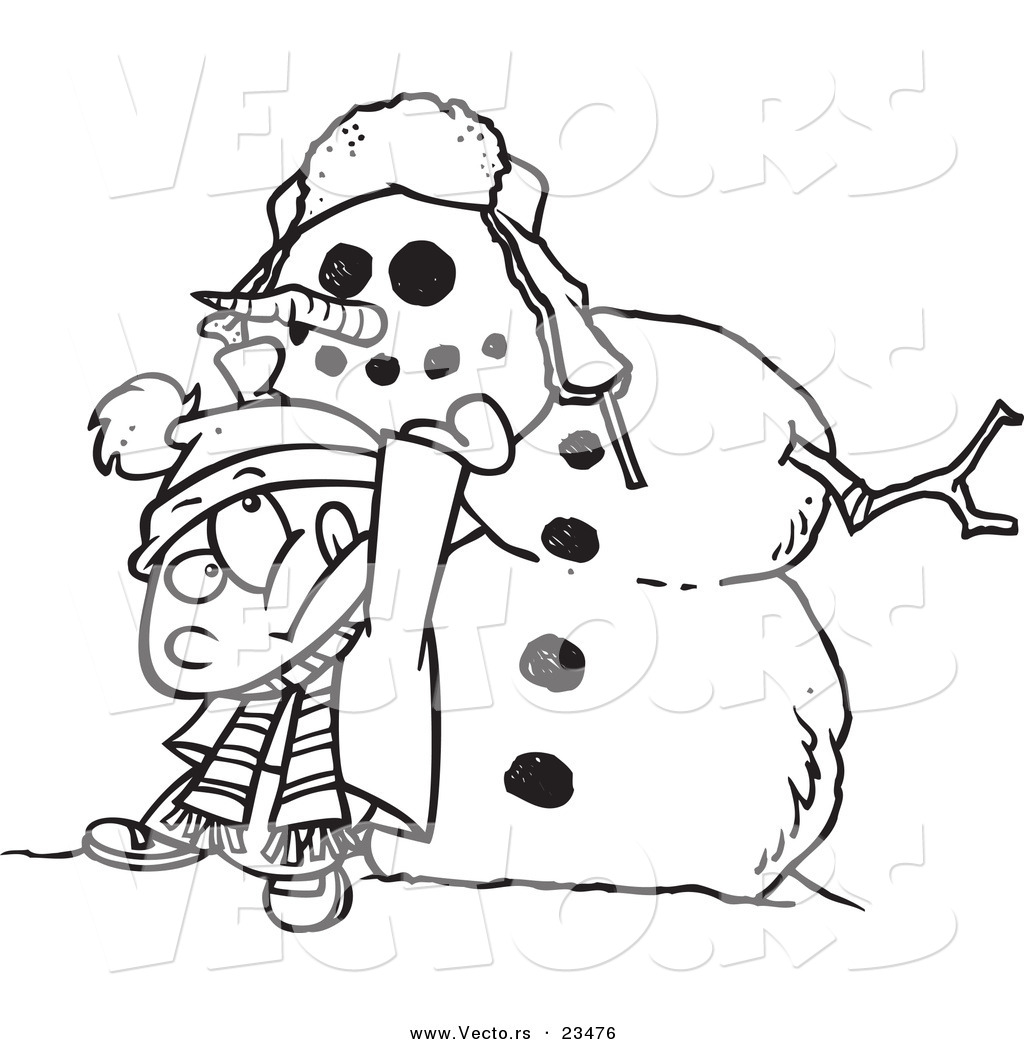cartoon vector of cartoon boy putting a head on a snowman coloring page outline