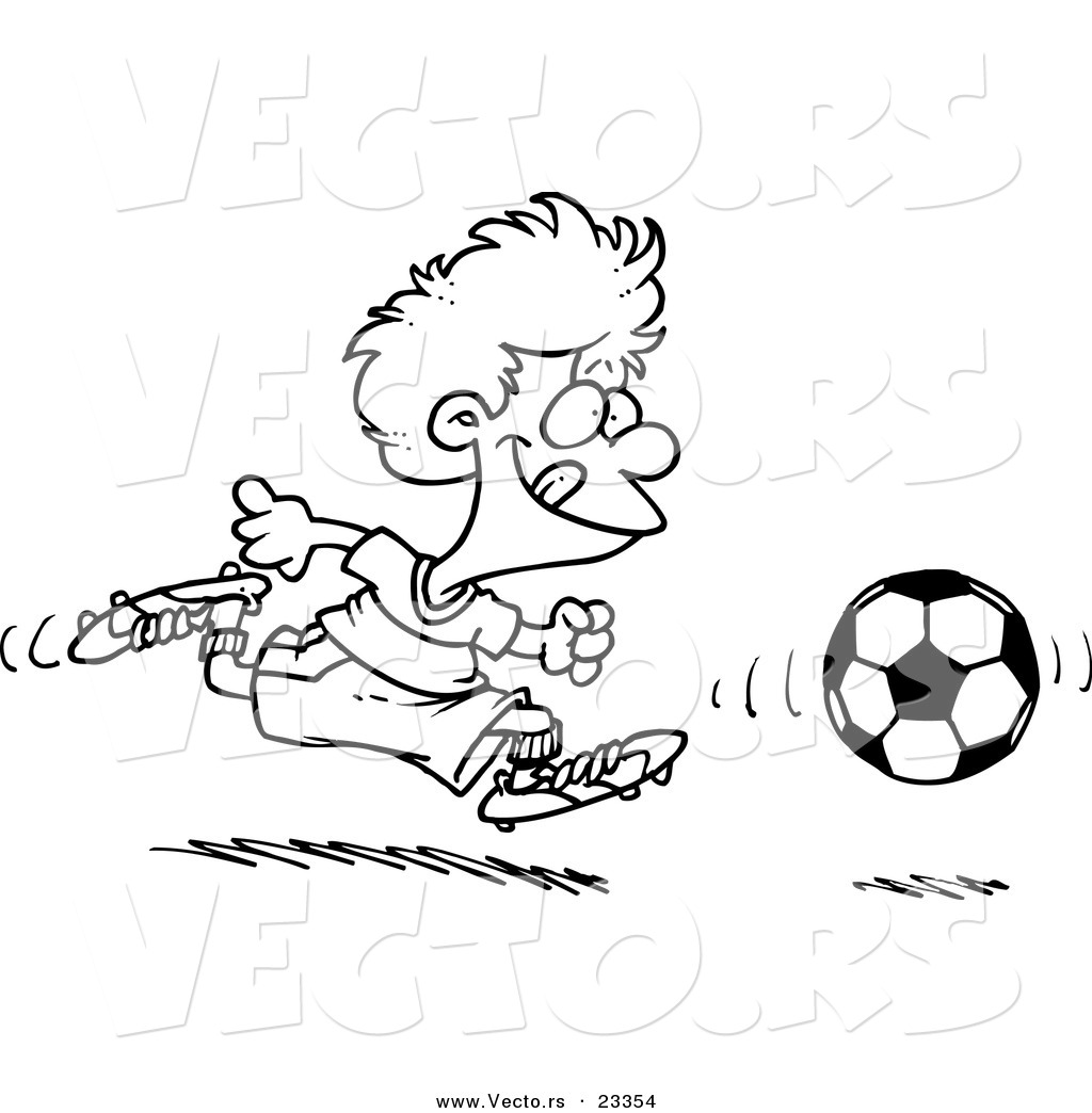 cartoon vector of cartoon boy running after a soccer ball coloring page outline - Soccer Ball Coloring Page