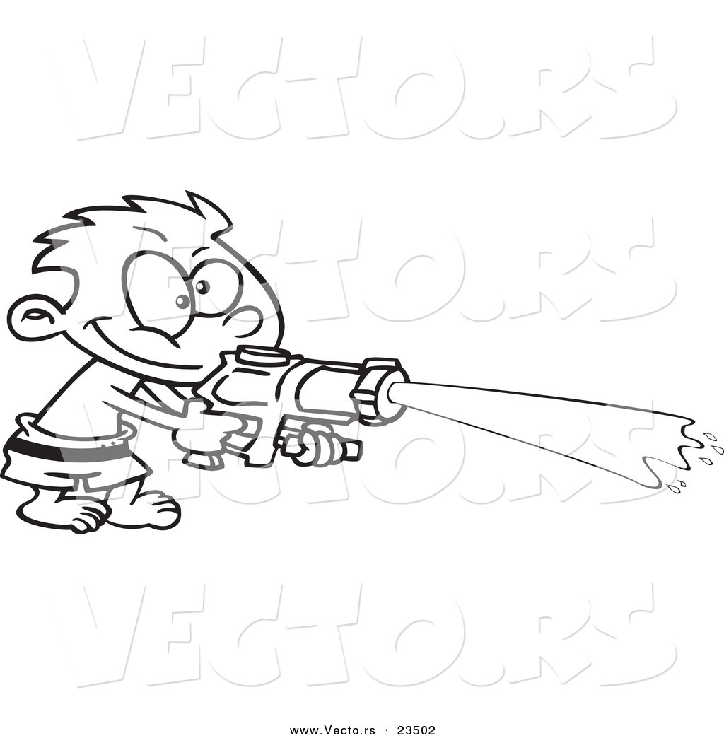 Cartoon Vector Of Boy Spraying A Soaker Gun