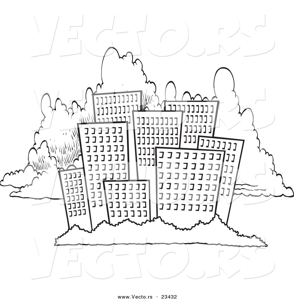Cartoon Vector of Cartoon City Skyline Against Clouds - Coloring ...