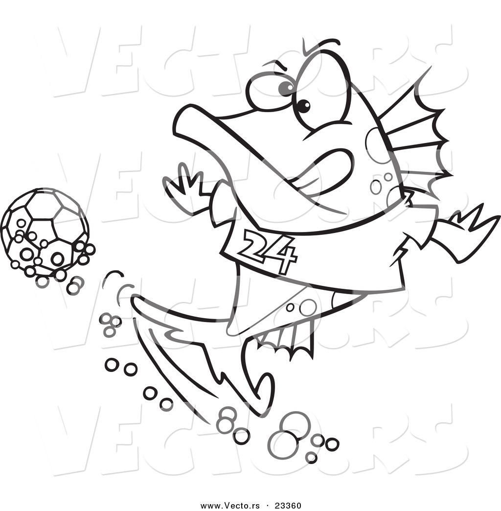 cartoon vector of cartoon fish playing soccer coloring page