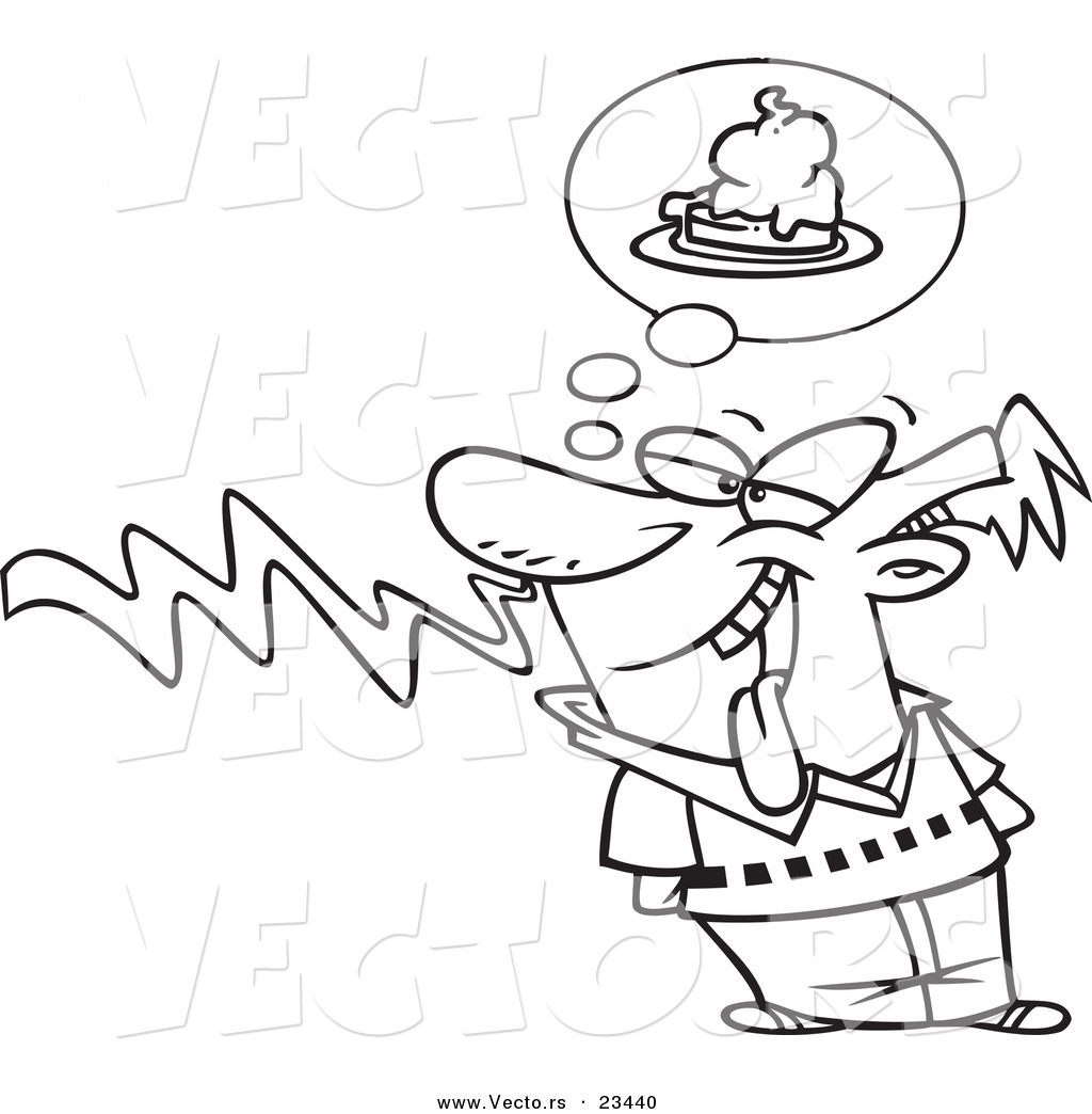 cartoon vector of cartoon guy smelling pie coloring page outline