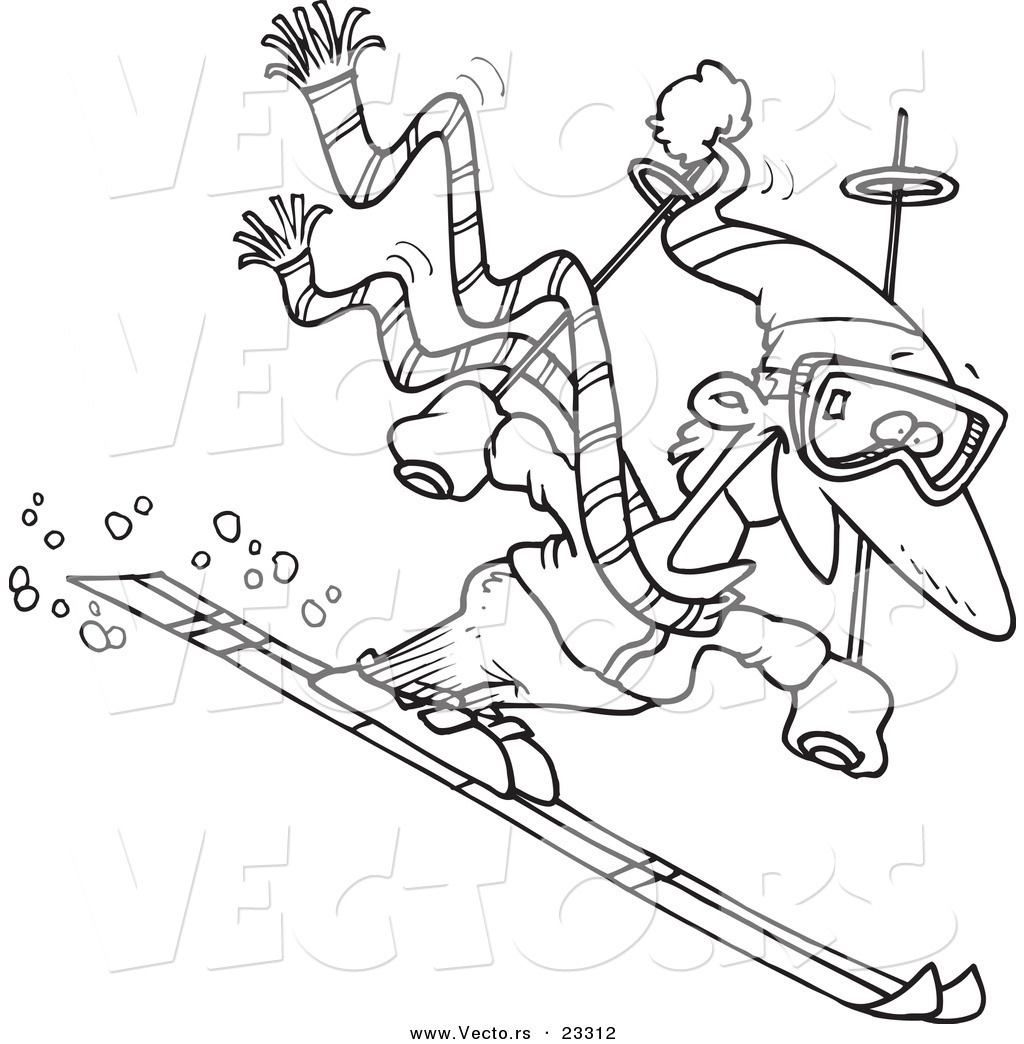 cartoon vector of cartoon skier guy coloring page outline by