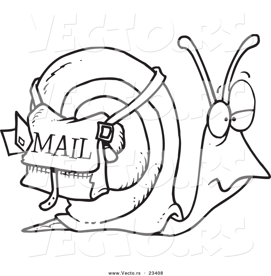 cartoon vector of cartoon snail mail coloring page outline by