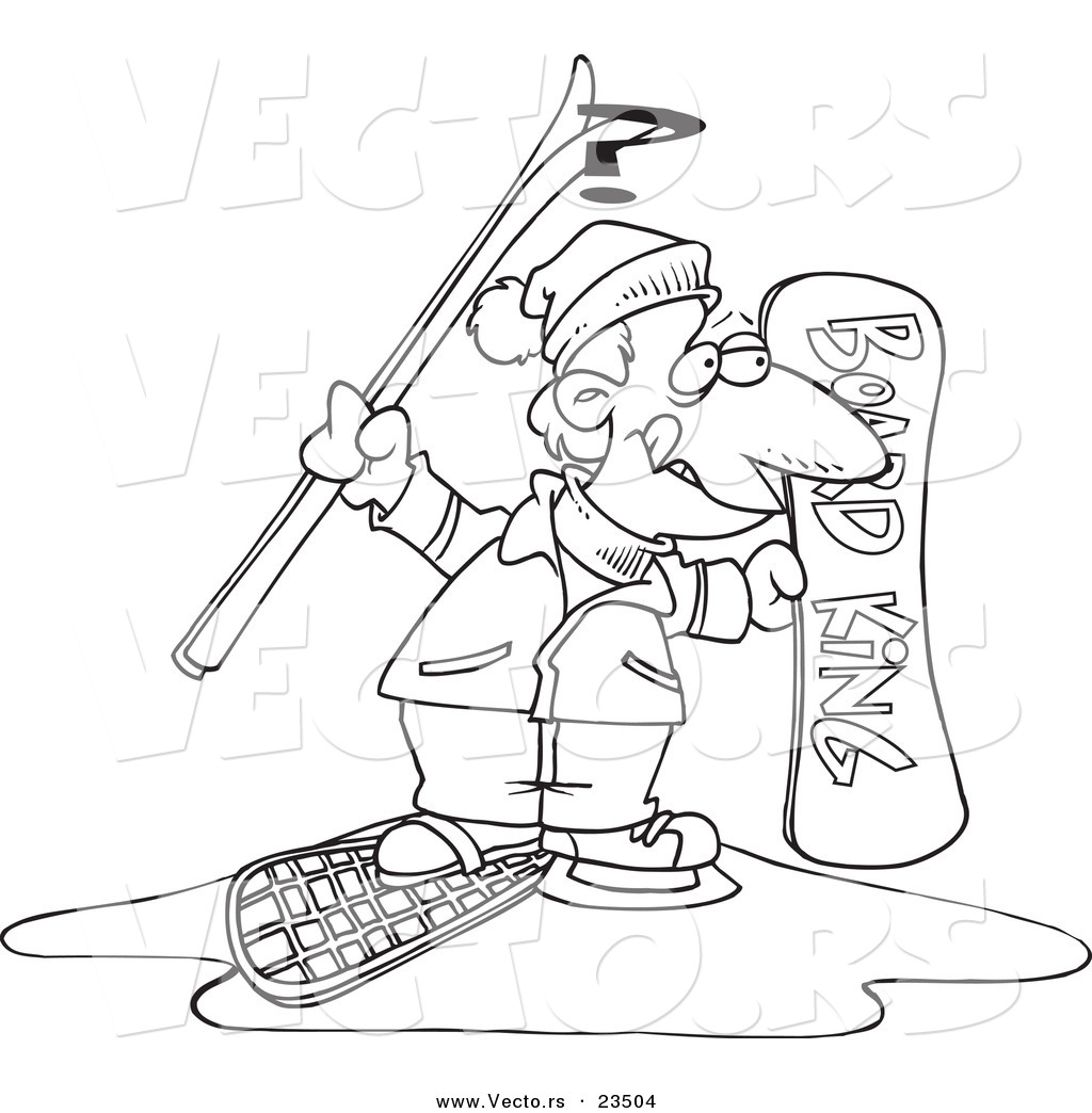 cartoon vector of cartoon snow sport guy coloring page outline by toonaday 23504. Black Bedroom Furniture Sets. Home Design Ideas