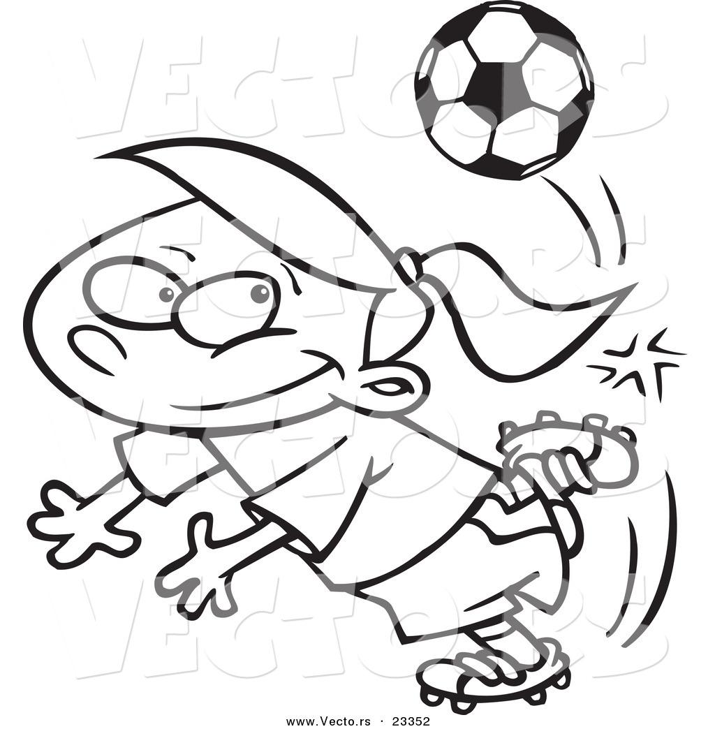 cartoon vector of cartoon soccer doing a kick trick