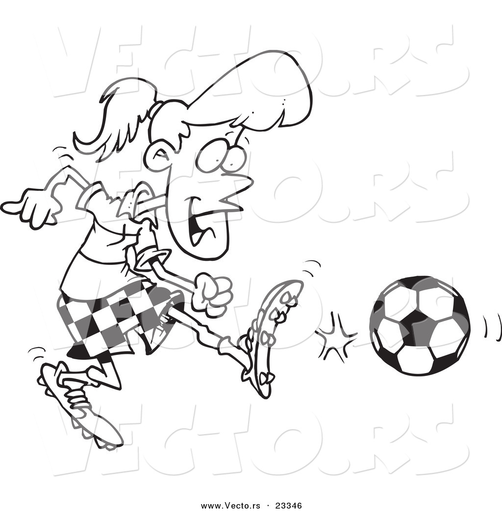 cartoon vector of cartoon soccer girl kicking coloring page outline - Girl Soccer Player Coloring Pages